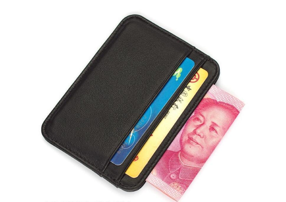 جلد الغنم رقيقة جدا مصغرة جلدية ناعمة ضوء بطاقة البنك كليب صغير محفظة جلدية الإبداعية بطاقة كيس بطاقة بسيطة