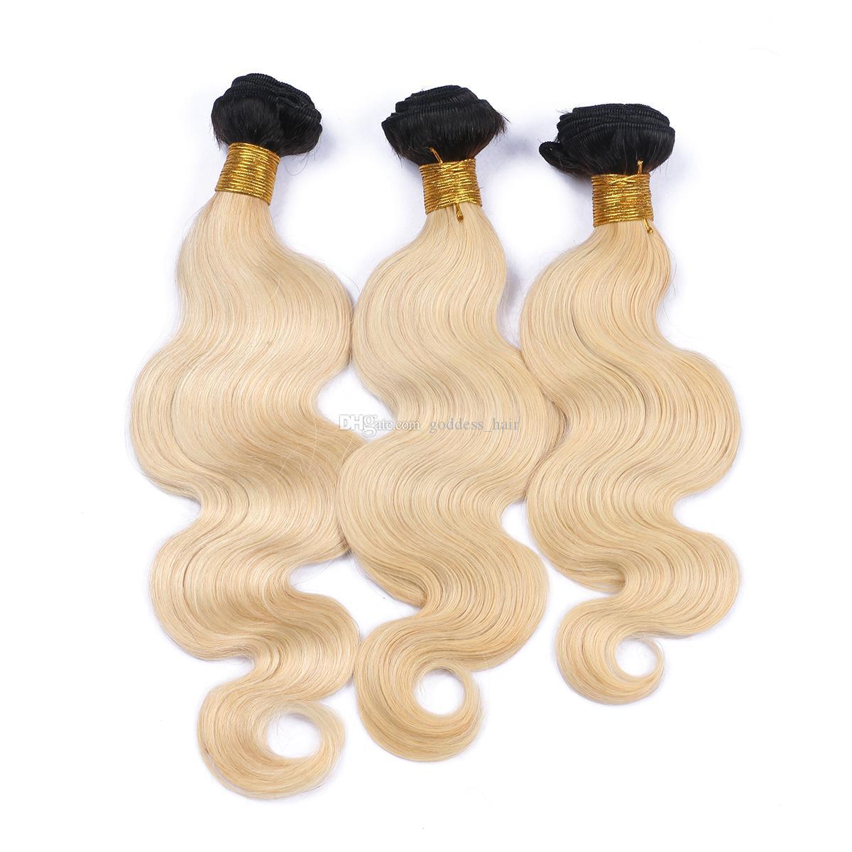 Ombre # 1B / 613 Echthaar Grade 9A Reine Haarkörperwellen-Haarwebart-PC Ombre Haarverlängerungen für Schönheits-Mädchen