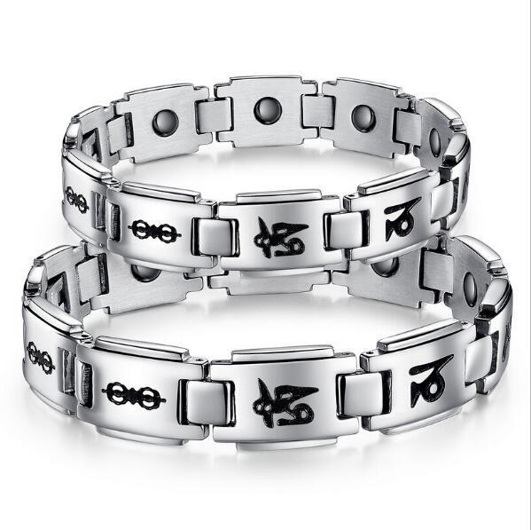 ZHF Bijoux Religieux Amant 's Bracelets Anti-fatigue Énergie Balance En Acier Inoxydable 316L Magnétique Femmes Hommes Bijoux Cadeau GS3141