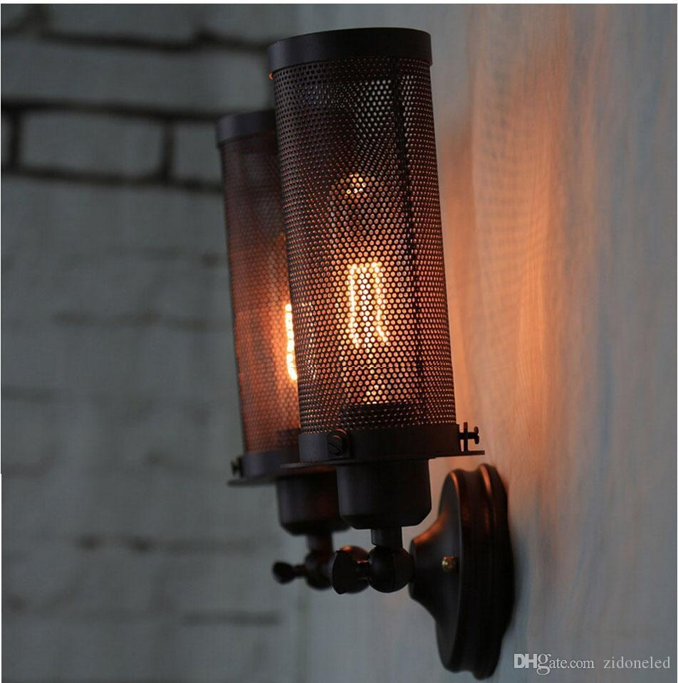 Loft vintage led wall lights double-head wall sconces mounted Lamp iron net black adjustable industrial wall sconce E27