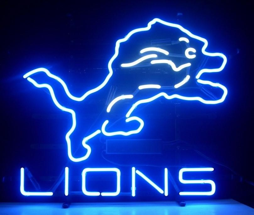 "Lions Neon Sign Handmade Custom Real Glass Tube Football Game Beer Bar KTV Club Disco Store Pub Neon Signs Free Design 19""X15"""