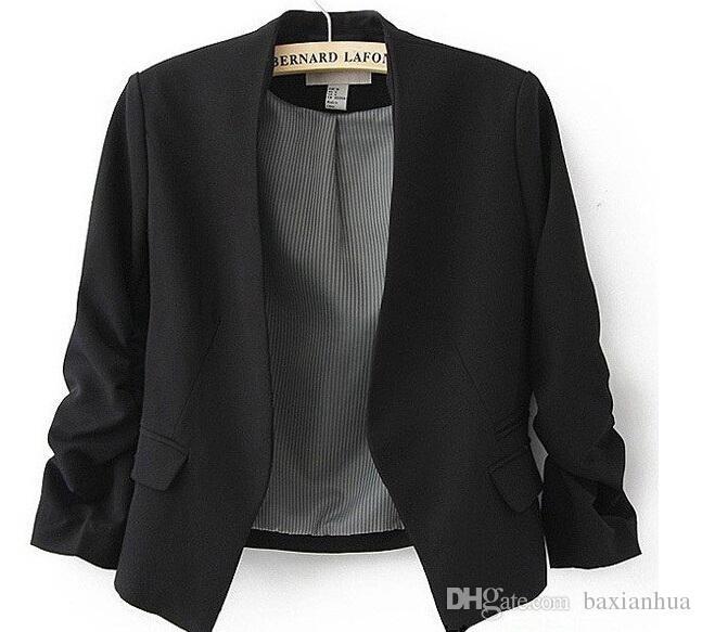 봄 2016 블레이저 여성 사탕 코트 짧은 자켓 자켓 코트 재킷 없음 버튼 기본 정장 재킷 무료 배송 탑