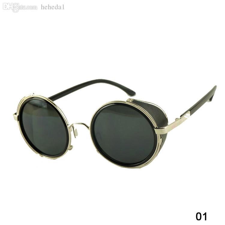 Occhiali da sole vintage rotonda stile Vintage-Vintage Fashion Steampunk Uomo in metallo Occhiali da sole cerchio donna 6 colori GS-0207