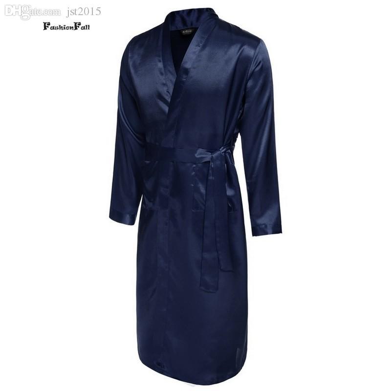 Großhandels-Mens-Sommer-Roben Solider V-Ausschnitt Kimono Bademantel Lange Satin Robe Nachtwäsche Verstellbarer Bund Peignoir Homme Albornoz Hombre ZD