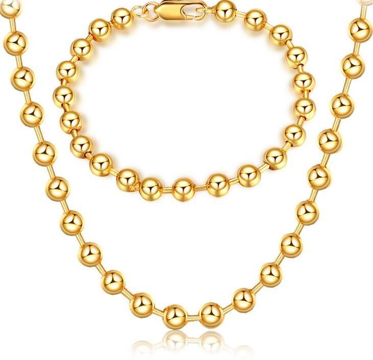 Marca 18 K ouro platings circular talão Colar Pulseira homem mulher 6 MM Budismo talão pulseira De Ouro colar de Jóias de casamento conjunto
