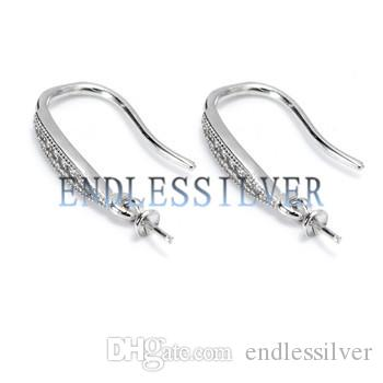 Hook Earring Settings 925 Sterling Silver Zircon Jewellery Findings for Round Beads or Pearls Party Gift
