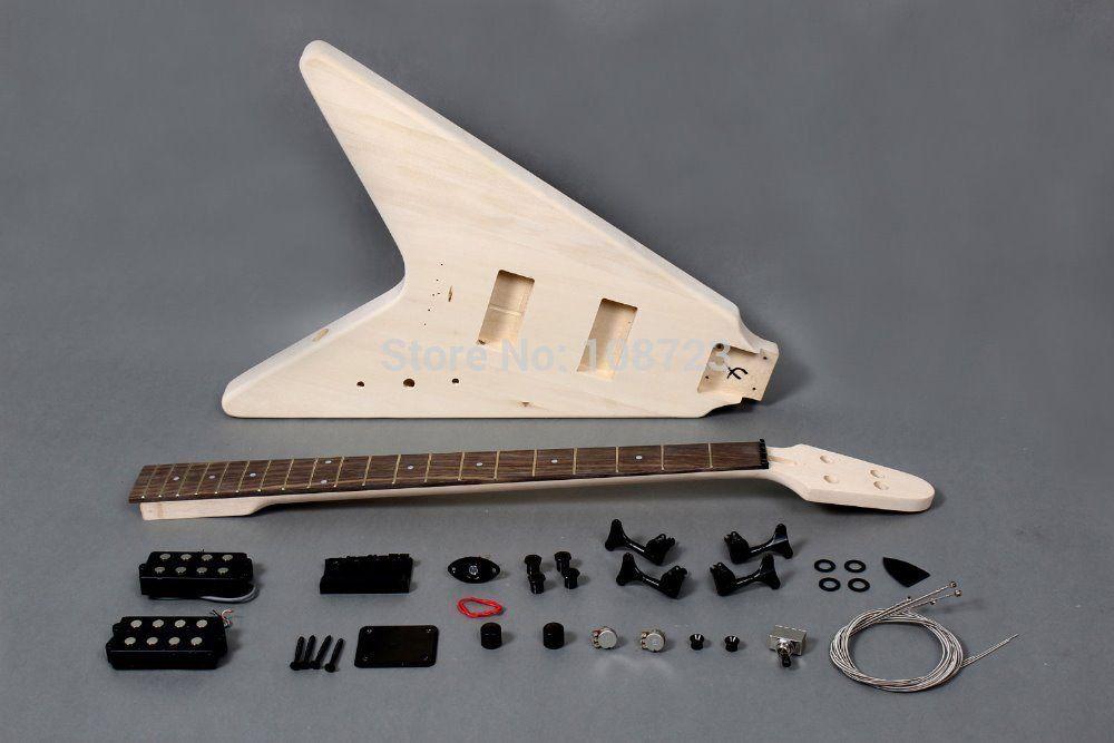 """플라잉 """"V""""스타일 4 현 일렉트릭베이스 기타 DIY 키트"""