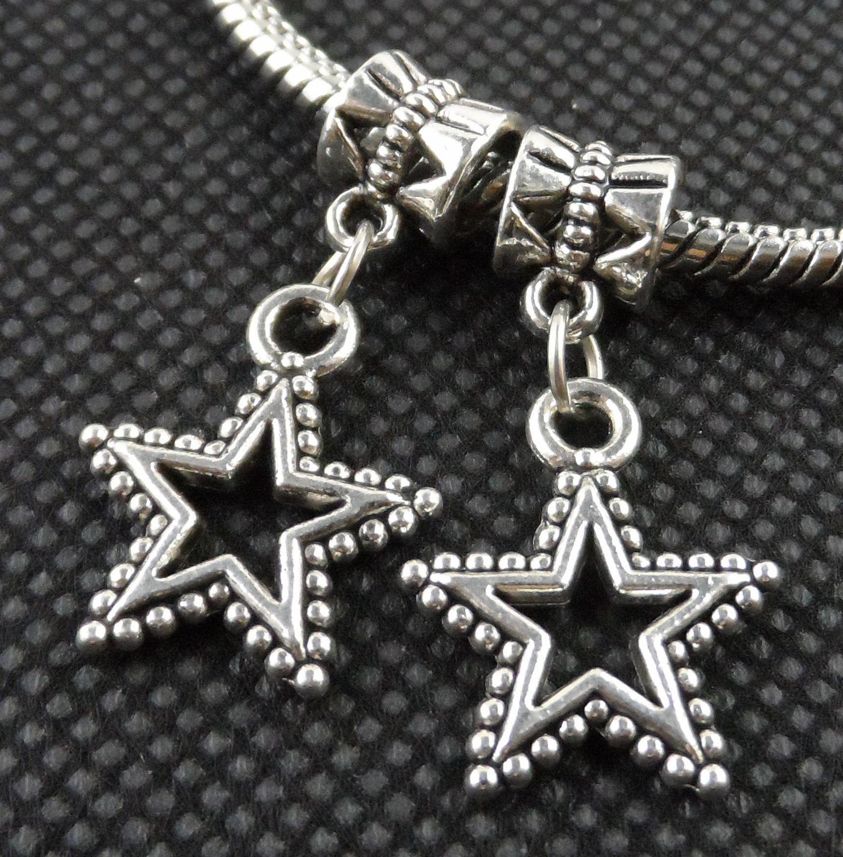 100 PCS Argent tibétain étoile à cinq branches Charmes Pendentif Dangle Perles Fit Bracelet européen 25mm
