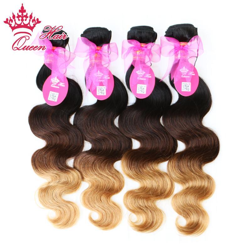 Королева волос Продукты новое прибытие Ombre цвет 1b / #4 / #27 три тона девственные бразильские волосы волна тела Ombre наращивание волос 4 шт. много