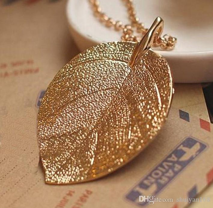 Gold Plated Leaf Design Pendant Necklace Chain for Women Girls Thanksgiving Sale
