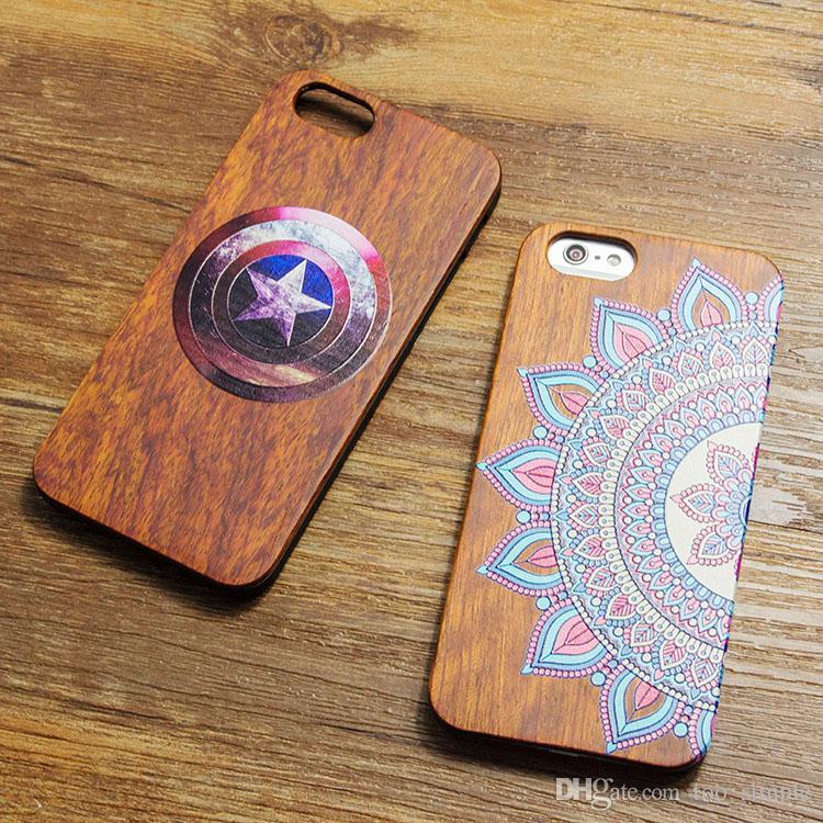 Özelleştirme Gerçek Ahşap Kasa Ahşap Bambu Kapak iPhone 5 6 6s 7 Artı Samsung Galaxy S8 Artı S7 kenar Kaptan Amerika