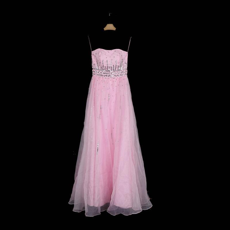 Vestido de dama de honor de tul suave con cuentas Rosa 2018 Longitud del piso Bodas Bodas vestidos de fiesta de encaje hacia arriba