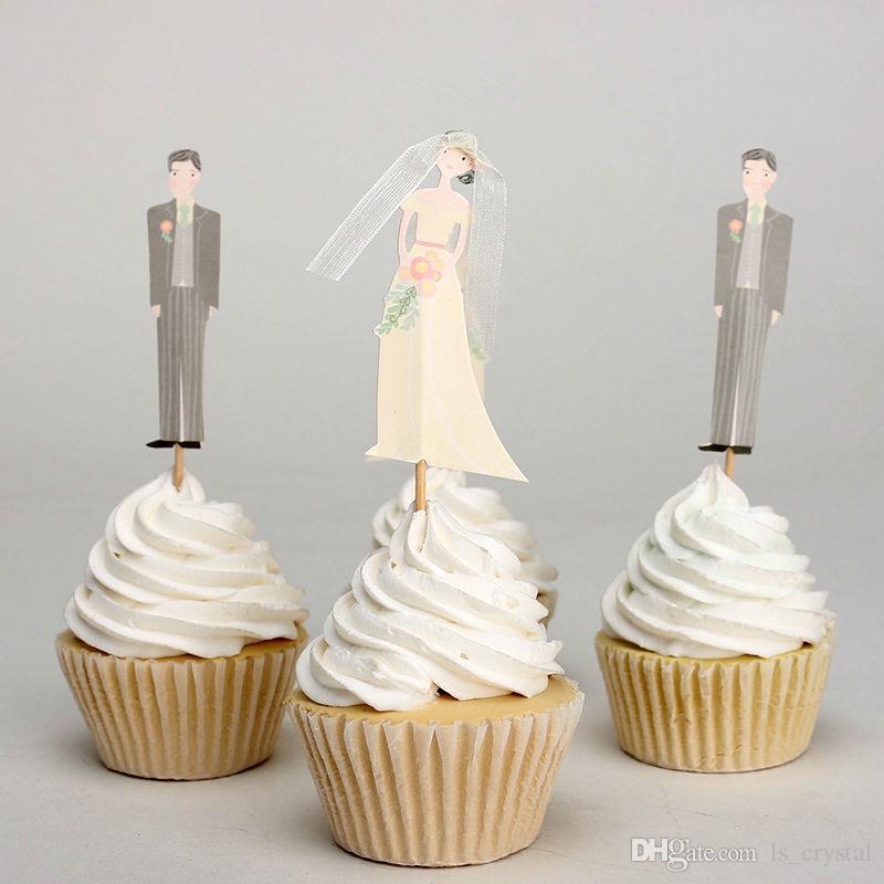 신부와 신랑 케이크 토퍼 핑크 하트 과일 피클 결혼식 소원 머핀 토퍼 피커 파티 음식 공급 DEC074
