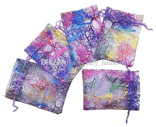100Pcs Coralline Pattern Drawstring Bolsas de organza Candy Jewelry Pouches for Wedding Party Favors Bolsas de regalo de Navidad - Púrpura, 2 tamaños