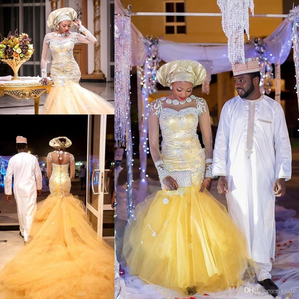 African Traditional Wedding Dresses Nigeria Gold Wedding Gowns 2018 Crystal Beads Sheer Tulle Long Sleeves Mermaid Bridal Dress Plus Size Designer Bridal Dresses Dress Bridal From Kazte 190 96 Dhgate Com