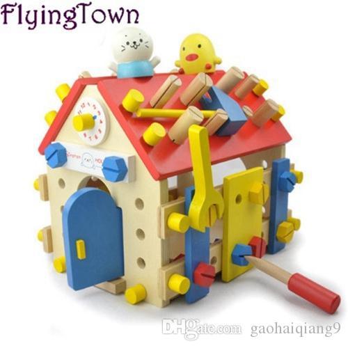 Montessori Zabawki Edukacyjne Drewniana śruba Zabawka Matematyczna Dla Dzieci 3-Letnia Wymienny Zabawka Montaż Model Dom Nauka Brinquedos