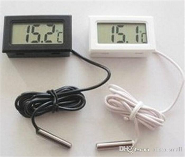 En gros Numérique LCD Écran Thermomètre Réfrigérateur Réfrigérateur Congélateur Aquarium FISH TANK Température -50 ~ 110C GT Noir blanc Couleur