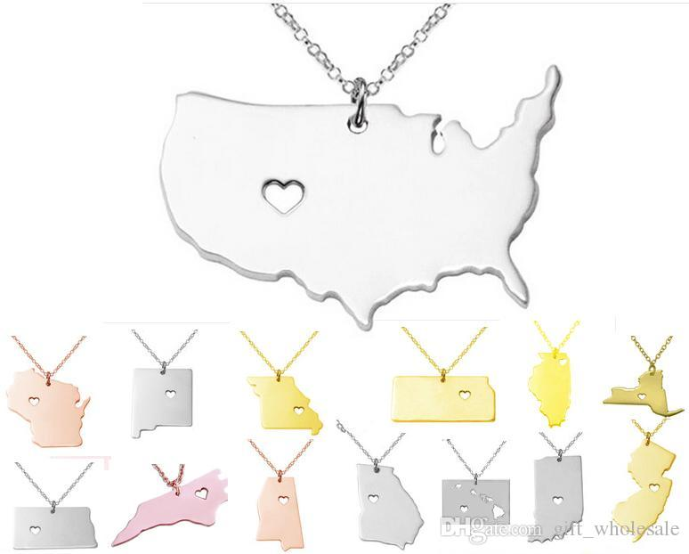 America 50 States Map Pendant Necklaces With Heart DIY State Pendent & Necklace Stainless Steel Jewelry Alaska State New York State