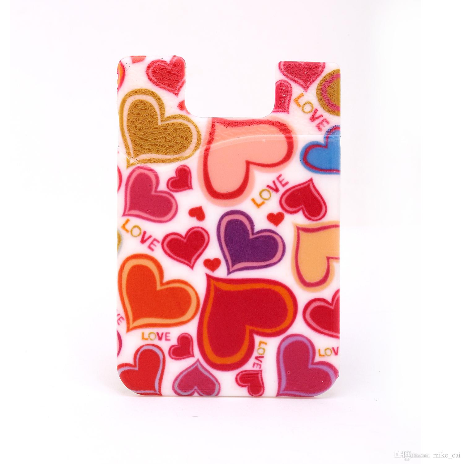 Heart Cartoon full color printing Custom logo cell phone smart phone wallet pouch silicone mobile phone card holder with pocket for iphone