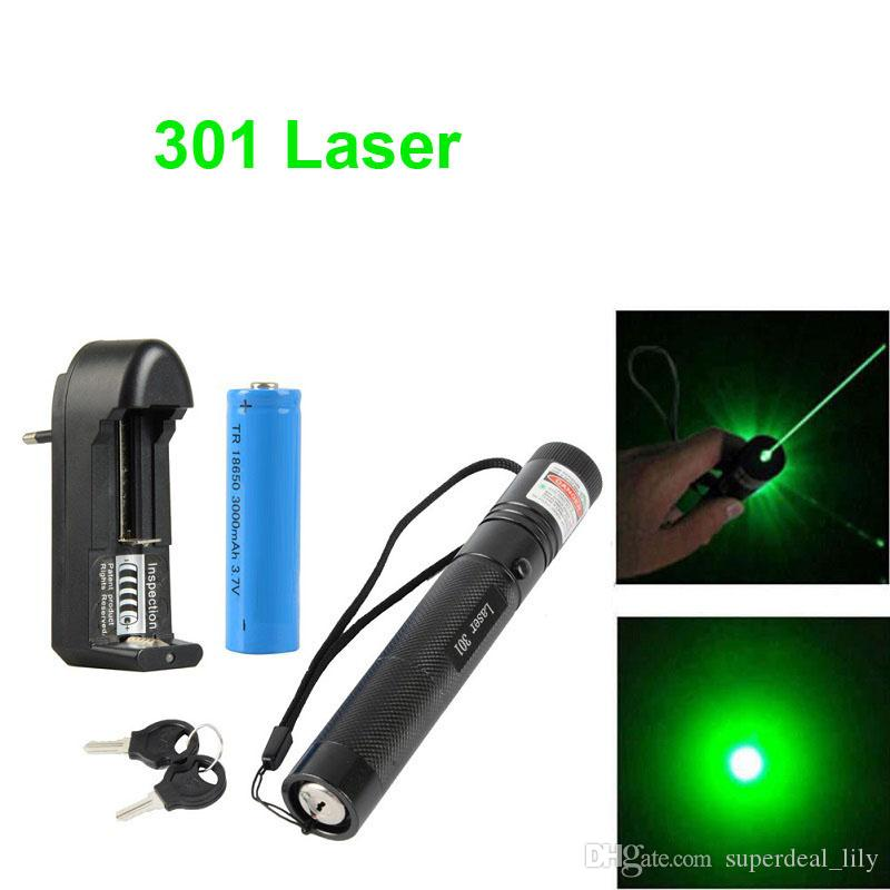 301 Green Laser Pointer Pen 532nm 1mw Adjustable Focus & Battery + Charger EU Adapter Set Free Shipping