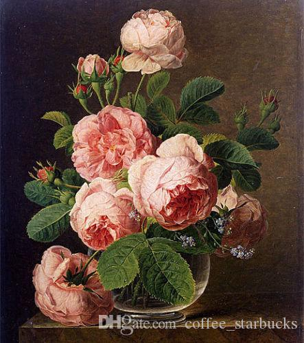 Jan Frans van Dael - Still Life of Roses in a Glass vase,Free shipping,Hand-painted Stunning Art oil painting Canvas in Multi sizes