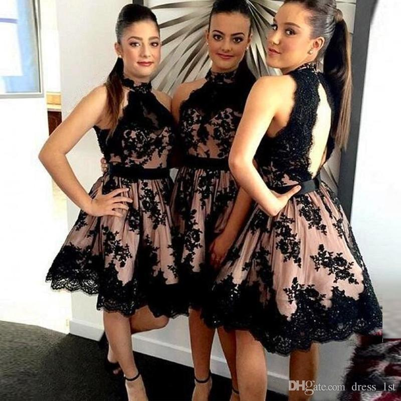 2016 Little Black High Neck Lace Short Homecoming Dresses Cheap Cut Out Back Applique Knee Length With Sash Formal Gowns Custom Made EN9026