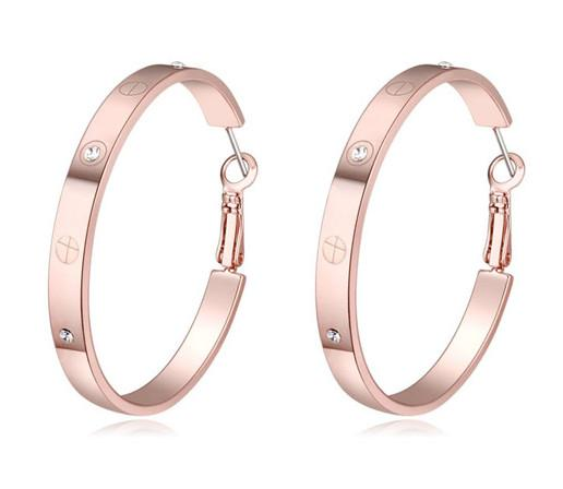 Earrings Jewelry Fashion Women High Quality Austrian Crystal 18K Gold Plated Hoop Earrings Wholesale Drop Shipping TER092