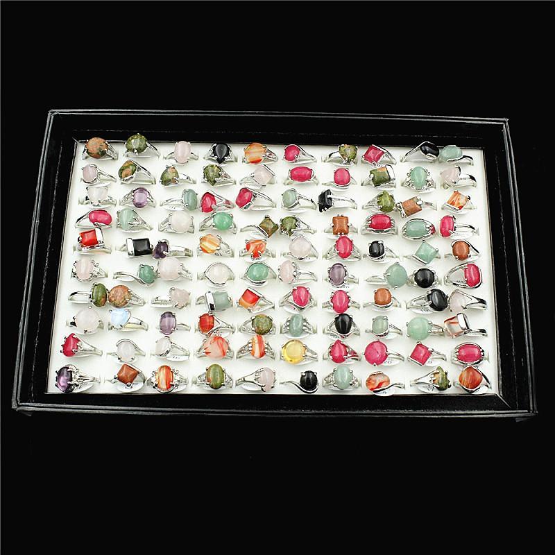 nuevo 100 unids estilos mixtos hermosos anillos de joyería de piedra natural de múltiples colores de las mujeres al por mayor lotes