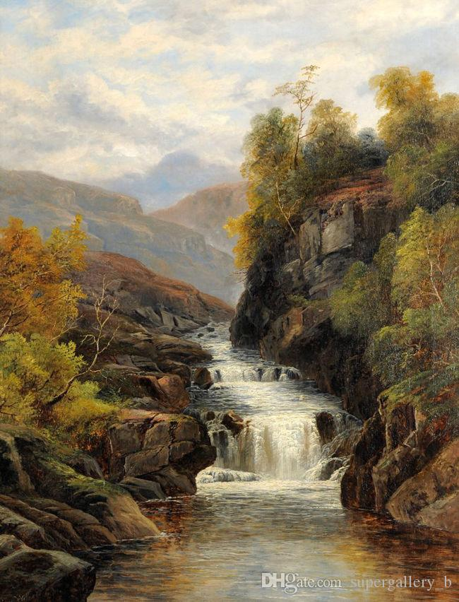 River cross the Mountains,Pure Handicrafts Landscape Art oil painting On High Quality Canvas Home Wall Decor in custom sizes