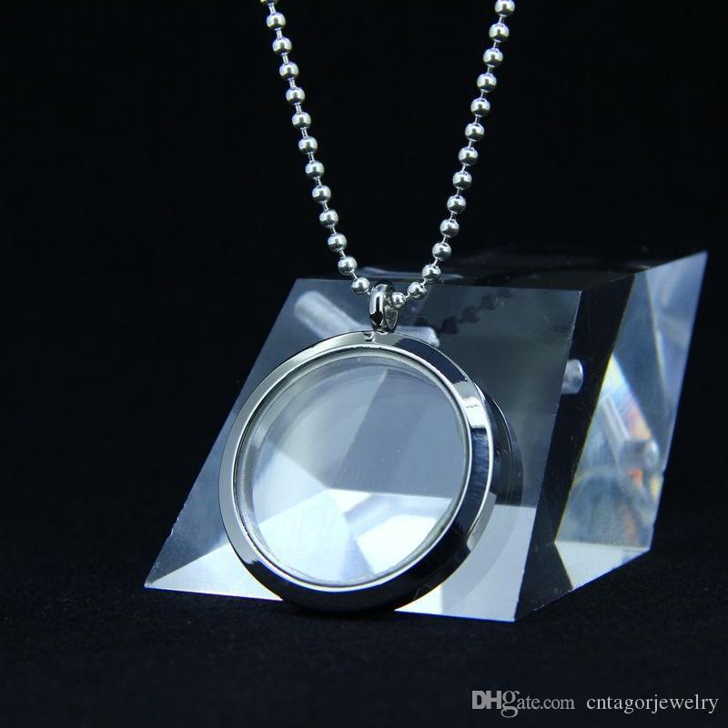 Мануфактура оптом из нержавеющей стали 316L 30 мм, 25 мм круглый стеклянный винт с открытым плавающим живой медальон подвеска (бесплатная цепь)