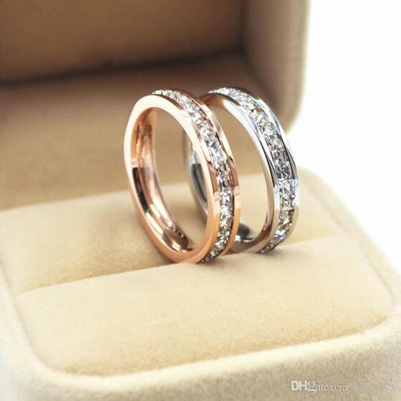 Anelli di fidanzamento in acciaio inox 316L con anello di fidanzamento promesso a caldo in acciaio di titanio anelli di titanio all'ingrosso Prezzo per 1pc