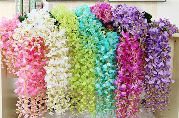 Artificial Wisteria Flower Rattans 12PCS 110cm / 70cm Silke Wisteria Flower Vined För Bröllop Jul Dekorativa Vines Blommor
