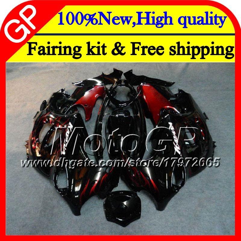 Corpo Para SUZUKI KATANA GSXF 600 750 GSXF600 98 99 00 01 02 21GP12 GSX600F GSXF750 1998 1999 2000 2001 2002 Carenagem de motocicleta Chamas vermelhas