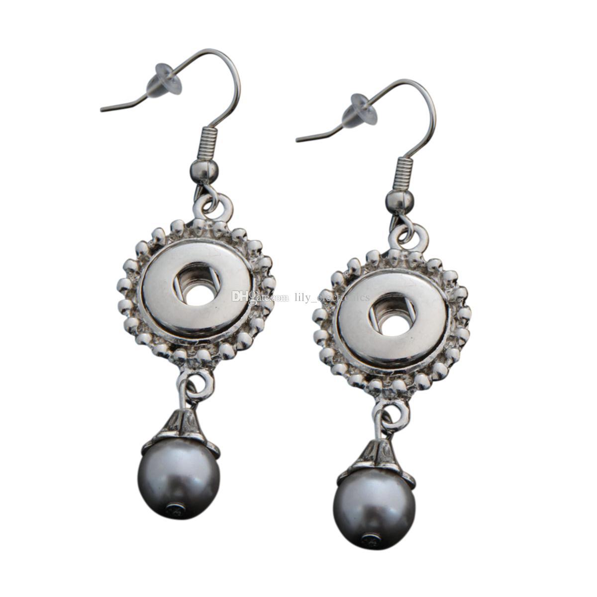 Dangle Hook Charme Boucles D'oreilles Avec Multi-couleurs Perle Fit DIY 12mm Boutons-pression Avec Dos De Sécurité 5Pairs