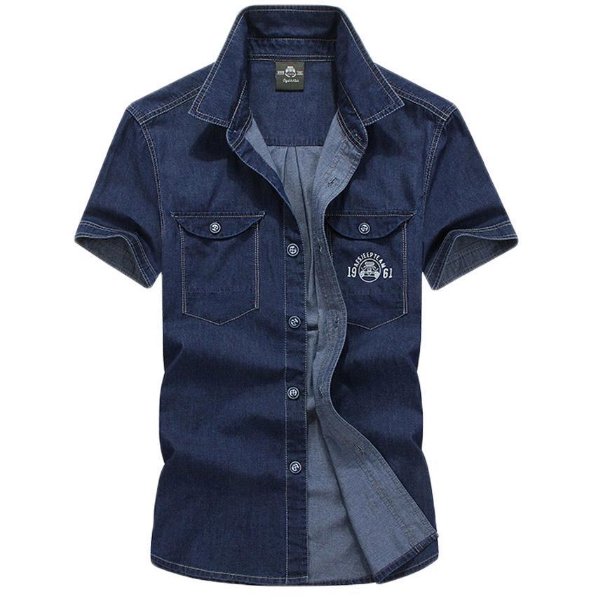 Caliente ! 2017 Nuevos Hombres Jeans Camisas de Verano de Algodón de Lavado con Agua Tops Hombre de Manga Corta Estampado de flores camisa de Mezclilla Para Hombres 60hfx