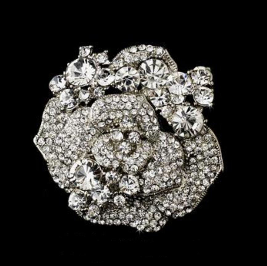 2インチのキラキラクリスタルランストーンエレガントなデザイン大きなバラの花のアクセサリーのウェディングブローチジュエリー