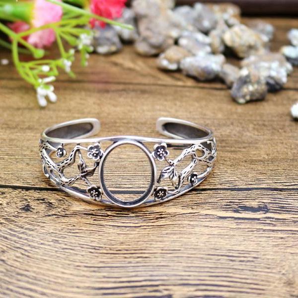 Арт-деко 18x22mm Овальный кабошон полу крепление браслет стерлингового серебра 925 мода старинные антикварные женщины цветок тонкой серебро