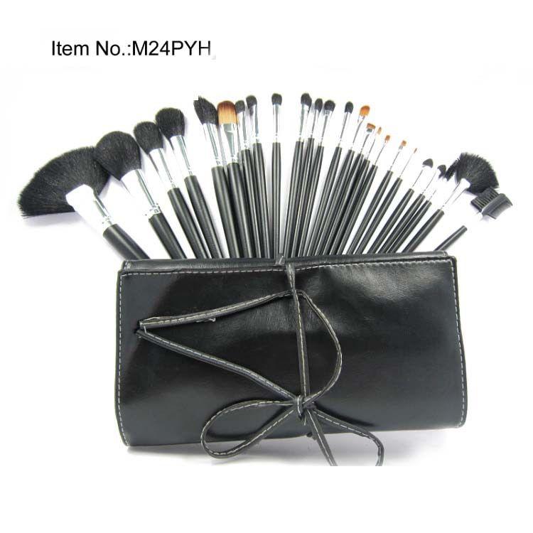 شحن مجاني! جديد ماكياج فرشاة 24pcs الحقيبة الجلدية ماكياج 24 قطعة مجموعات فرشاة 10PC