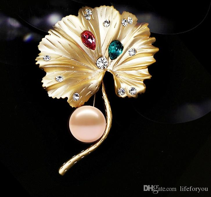 Vintage Jewelry Brooch pin silver gold-plate Alloy Crystal Pearl Broach corsage for costume party dress pin bridal wedding invitation gift