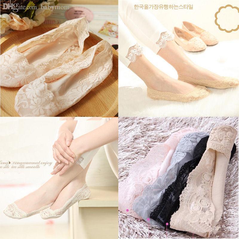 Оптовая продажа-последние удобные южнокорейские женщины скалы эластичный хлопок кружева противоскользящие нематериальные низкой вырезать тонкие носки
