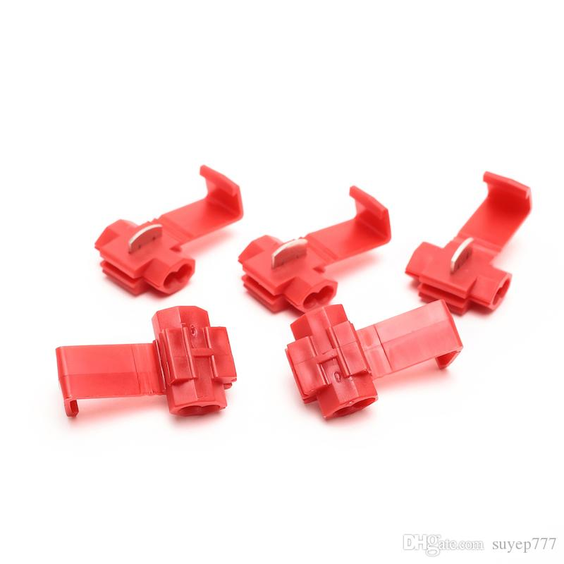 100PCS Wire Crimp Terminals Quick Splice Wiring Connector Cable Clamp red  Lock Wire Electrical Cable Connector