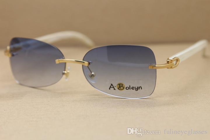 Free Shipping Hot T8100864 men Rimless White Buffalo Horn Glasses Genuine Natural Sunglasses driving glasses C Decoration Size:59-18-140mm