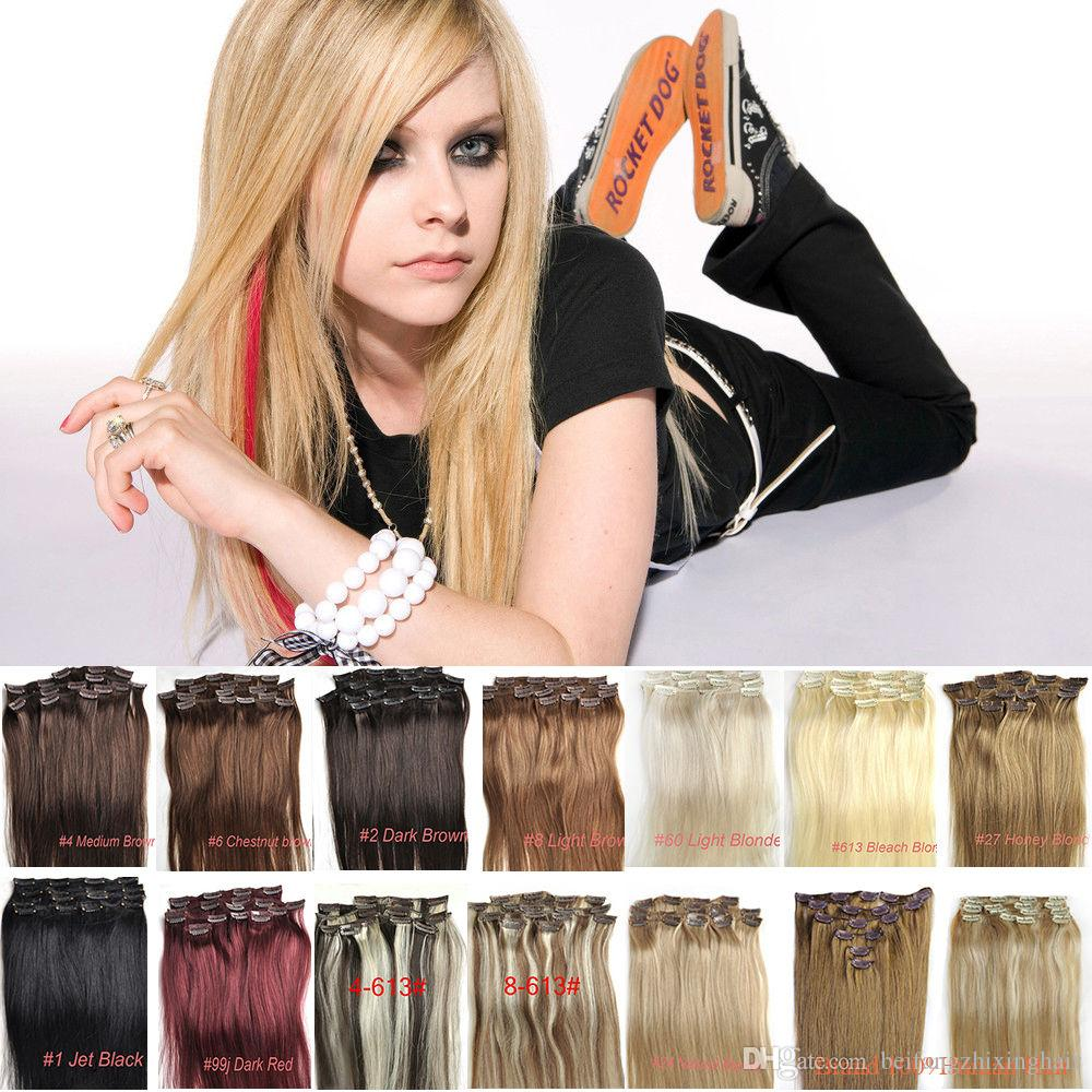 """Hot Sales 7A 100% Indian Remy Human Hair Clip In Hair Extensions 7PCS Full Head Set 16""""-24"""" Multiply Colors"""