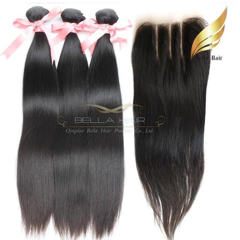 Peruwiański dziewiczy ludzki Włosy Wefts z zamknięciem koronki 3 Część jedwabista prosty kolor naturalny 8-34 cal bellahair
