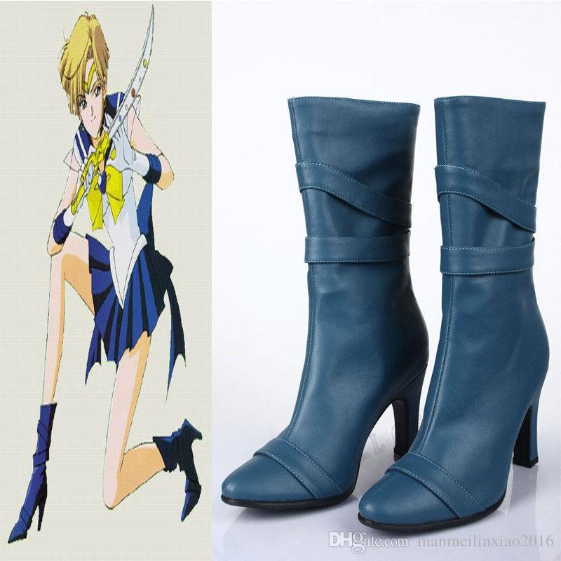 HOT Halloween Chrismas 인기있는 애니메이션 독점적 인 고품질 수제 선원 달 Amara 천왕성 코스프레 부츠 신발