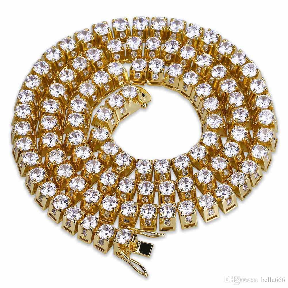 10MM Width 1row Gold Silver Color Hip Hop Cubic Zirconia Necklace Paved Tennis Blingbling CZ Stones Trapezoid Long Chains Men Jewelry 6 Size
