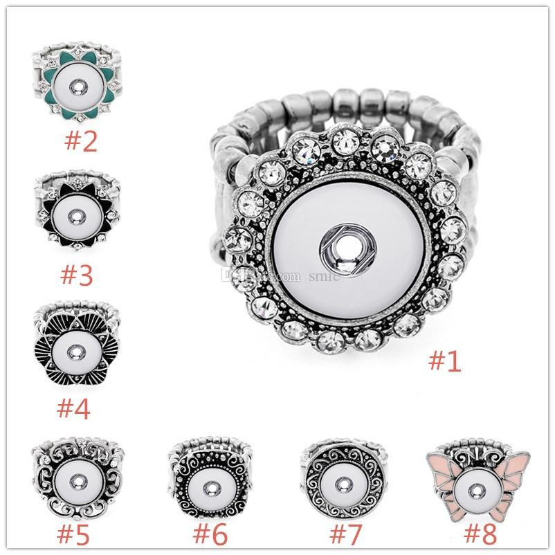 12mm Noosa Chunk Snap Button Elastic Rope Adjustable Ring DIY Noosa Ginger Snaps Interchangeable Jewelry For Women ZA0094