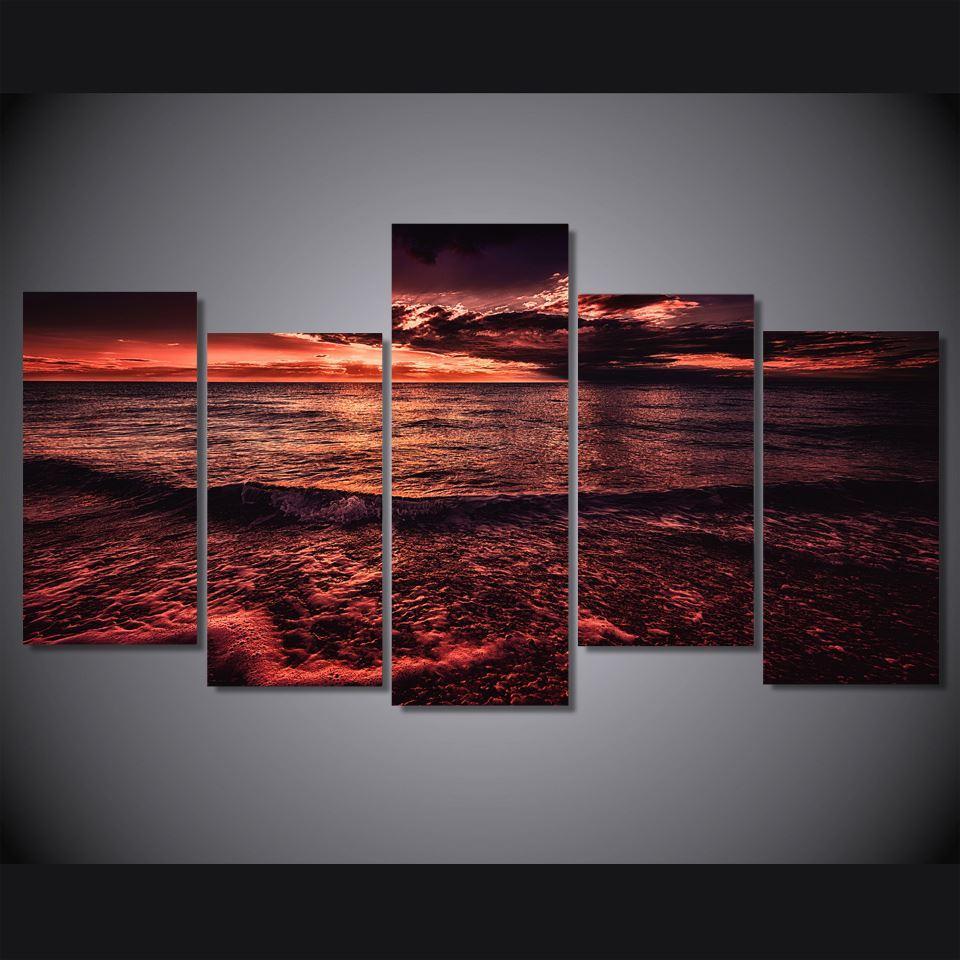 5 Paneli HD Baskılı Deniz Günbatımı Kırmızı Bulutlar Poster Resim Tuval Özet Wall Art Painting Baskı Tuval Odası Dekorasyon On Boyama