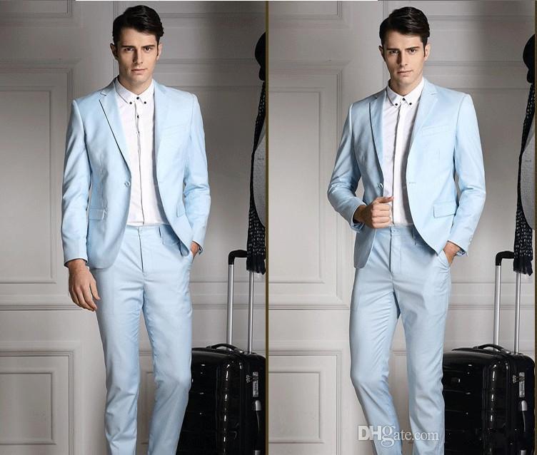 Sunshine Handsome Side Vent Light Blue Groom Tuxedos Men\'s Wedding ...