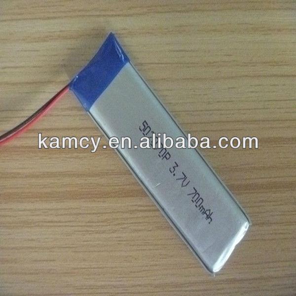 3.7v lipo battery 700mah rechargeable 502070P